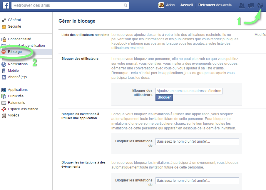 Supprimer les notifications Facebook